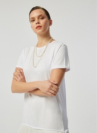 Monamoda Şifon Piliseli Elbise Beyaz